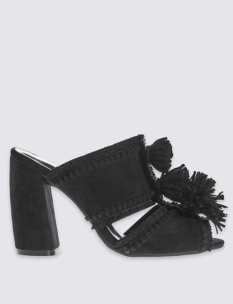 Angular Pom Pom Mule Sandals with Insolia®