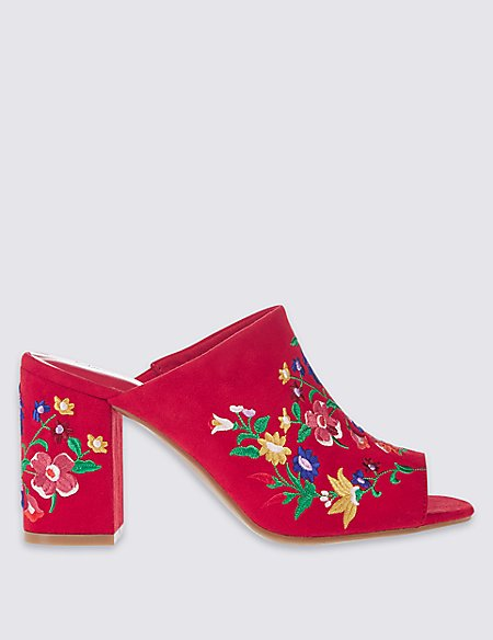 Angular Heel Embroidered Mule Shoes