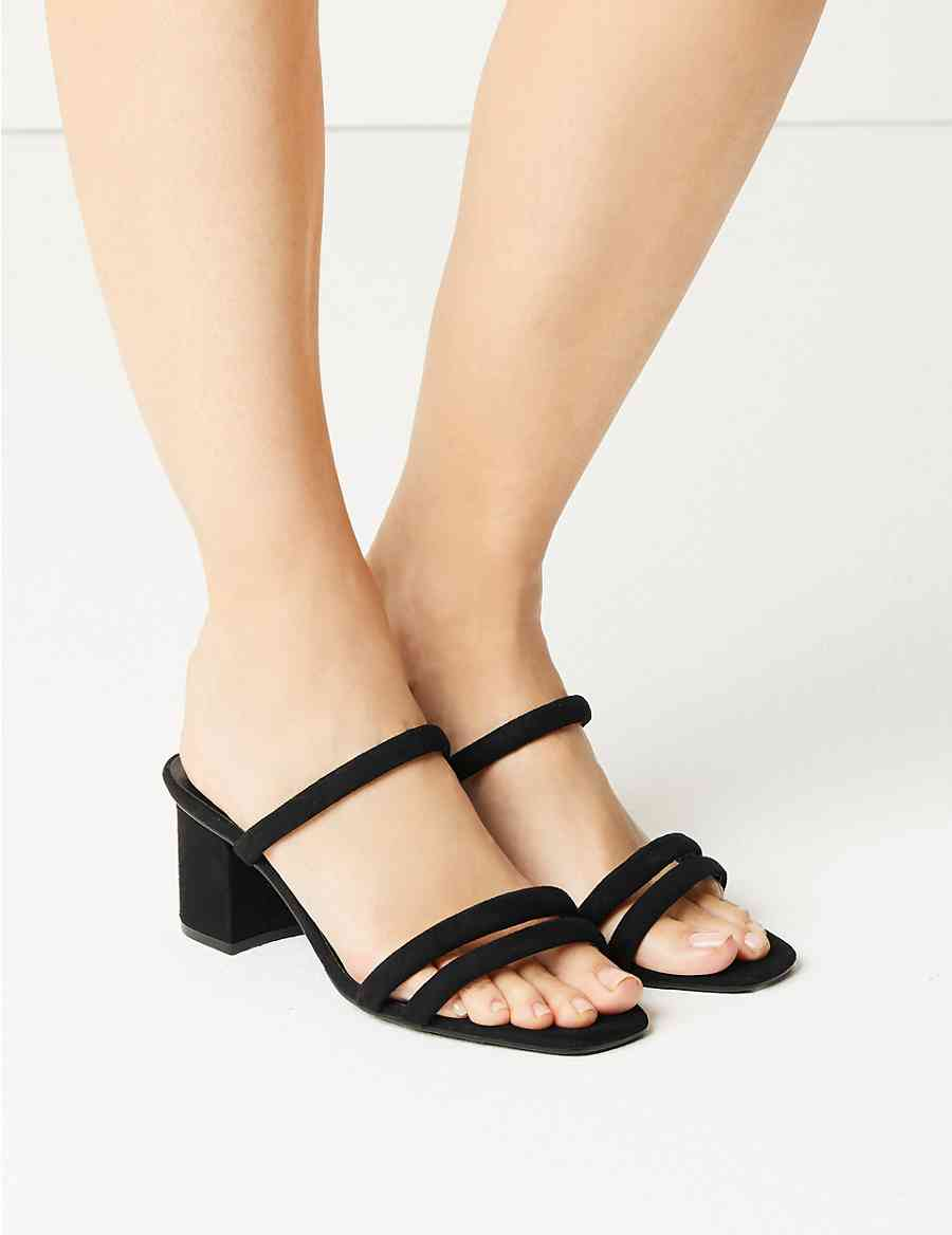 d78fab65f87 Wide Fit Multi Strap Mule Sandals