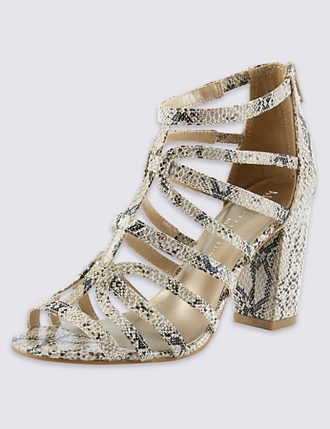 Wide Fit Caged High Block Heel Faux Snakeskin Sandals with Insolia®