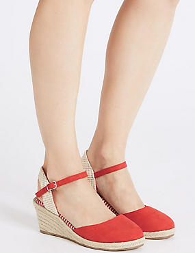 Wide Fit Wedge Heel Espadrilles , RED, catlanding