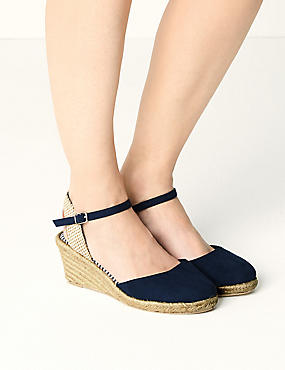 Wide Fit Wedge Heel Espadrilles , NAVY, catlanding