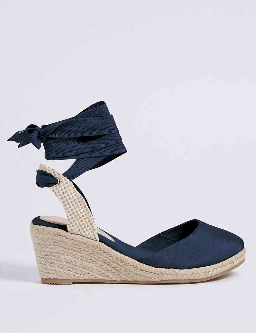2aaa2615961f Wide Fit Wedge Heel Lace-up Espadrilles