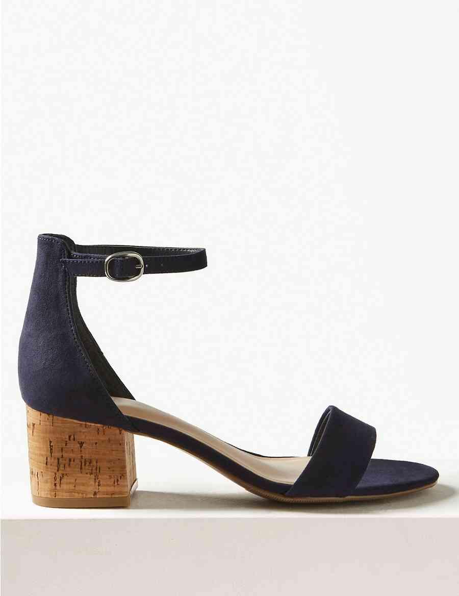 3cb8e8f96e2f9d Wide Fit Block Heel Two Part Sandals
