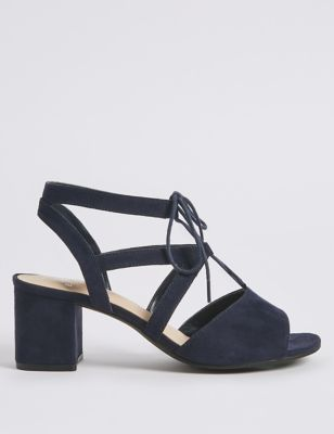 Extra Wide Fit Block Heel Lace Up Sandals by Marks & Spencer