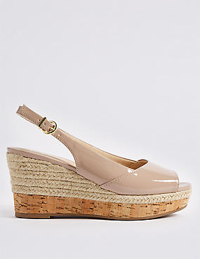 Wide Fit Wedge Heel Peep Toes Espadrilles