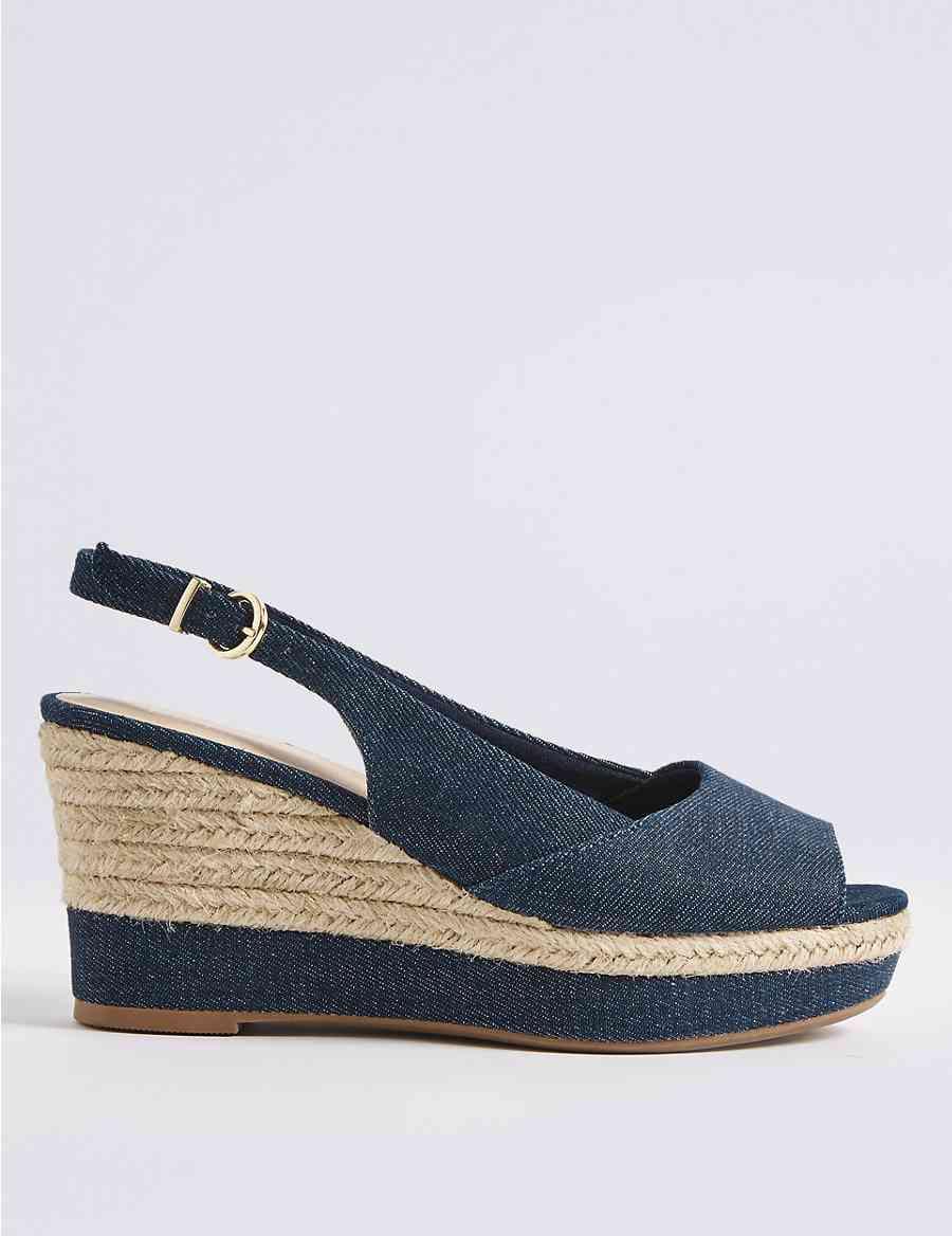 06d4fa7515c Wide Fit Wedge Heel Peep Toes Sandals