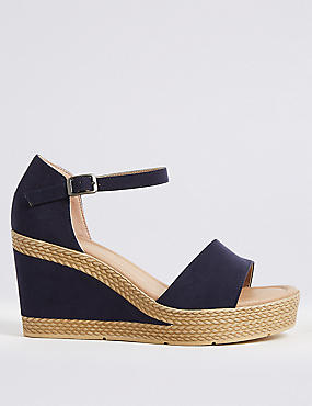 Wide Fit Wedge Heel Two Band Sandals