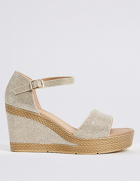 Wide Fit High Heel Two Band Sandals