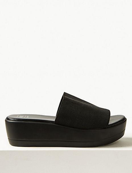 Wide Fit Wedge Heel Mule Sandals