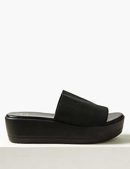 Wide Fit Wedge Heel Mule Sandals
