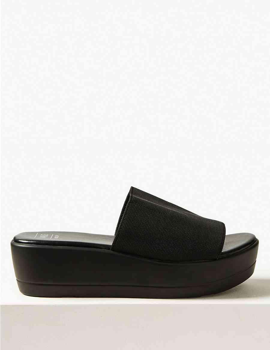 e80a9b2db62 Wide Fit Wedge Heel Mule Sandals