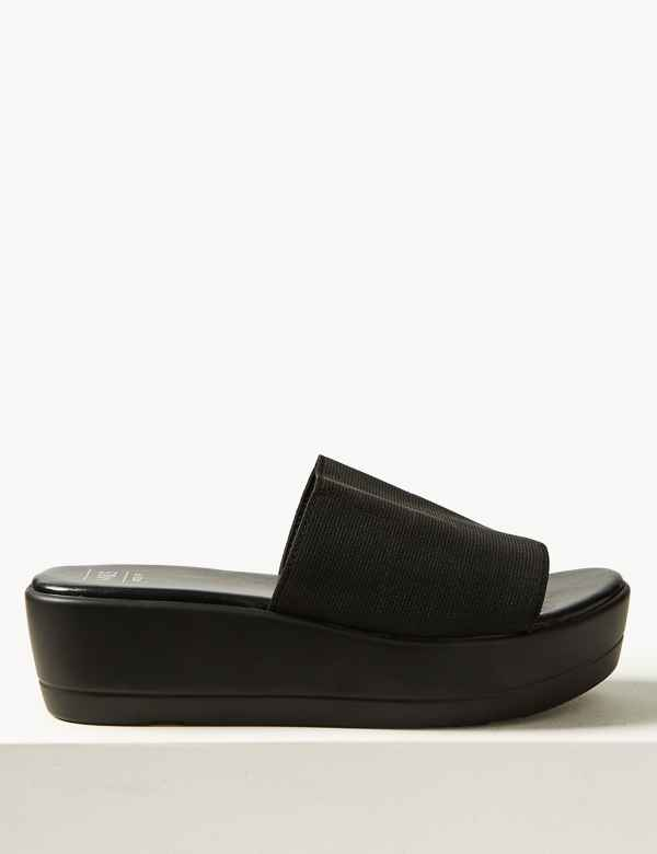 0045c289d923 Wide Fit Wedge Heel Mule Sandals