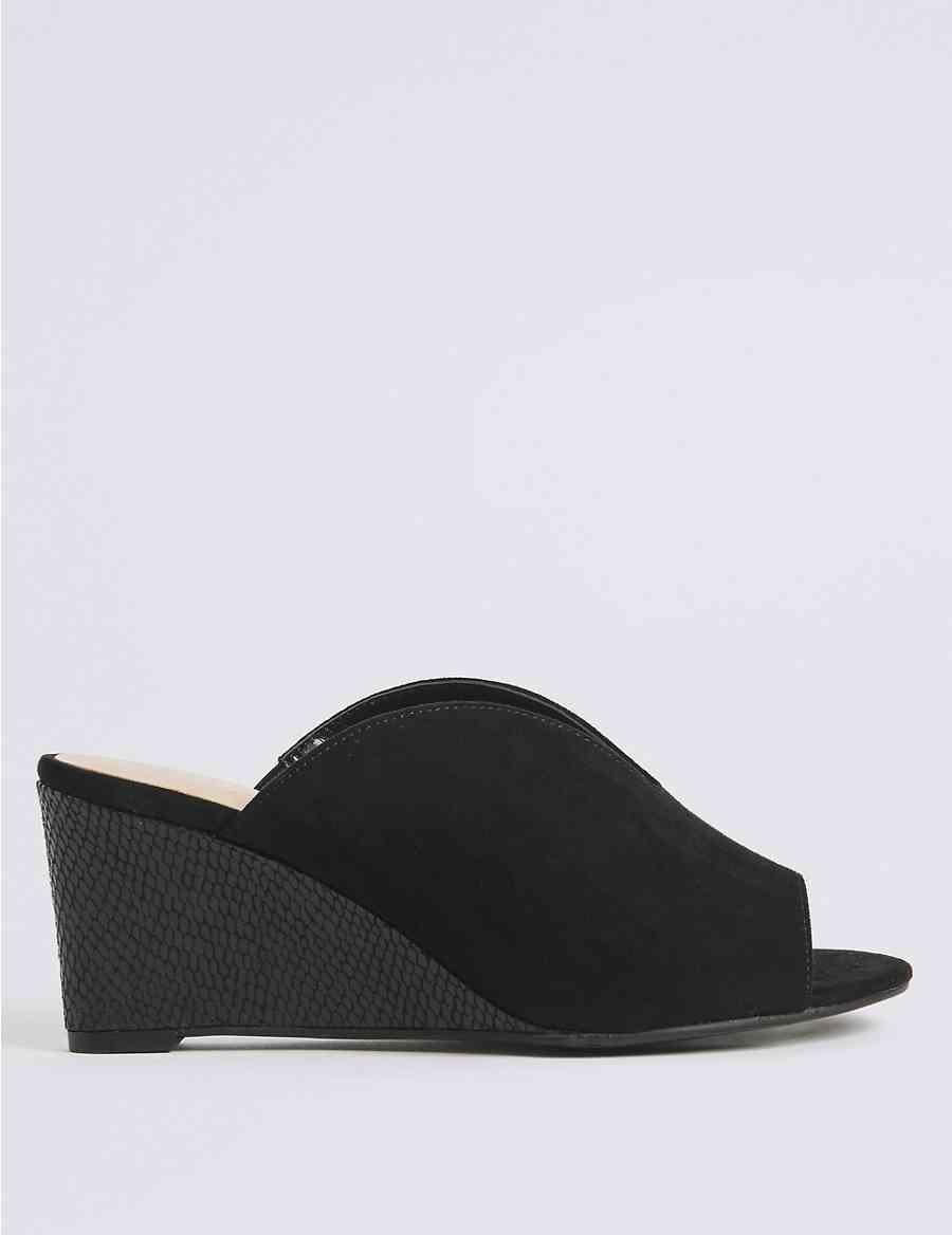 45b3e52fbc0 Extra Wide Fit Wedge Heel Mule Sandals