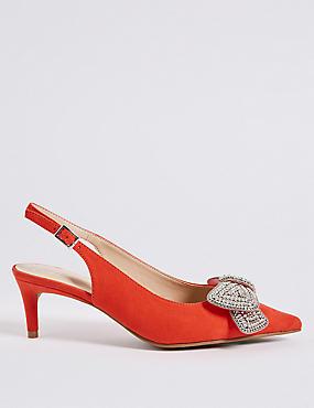 Wide Fit Kitten Heel Jewel Bow Sandals