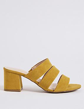 Wide Fit Block Heel Multi Strap Mule Sandals