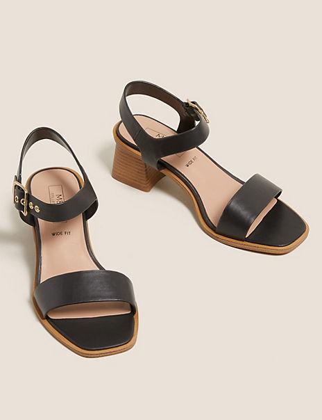 Wide Fit Ankle Strap Block Heel Sandals