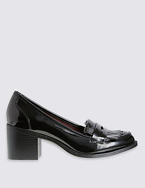 Wide Fit Block Heel Loafers with Insolia®