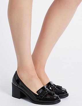 Wide Fit Block Heel Fringe Loafers, BLACK, catlanding