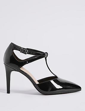 Wide Fit Stiletto Heel T-Bar Court Shoes