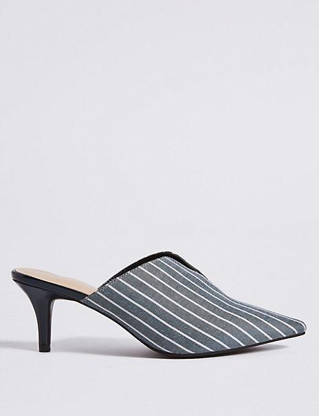 Wide Fit Kitten Heel Mule Shoes
