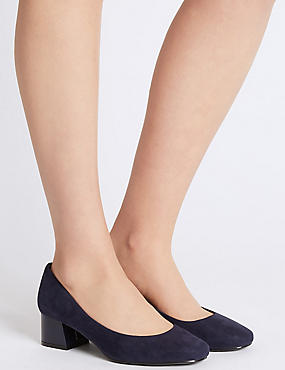 Wide Fit Block Heel Court Shoes, NAVY, catlanding