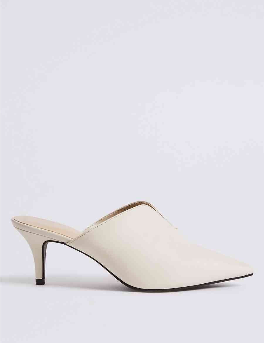 65b3c5f8e2a Wide Fit Kitten Heel Mule Shoes