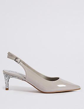 Wide Fit Kitten Heel Slingback Court Shoes
