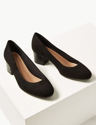 Wide Fit Block Heels Court Shoes by Marks & Spencer