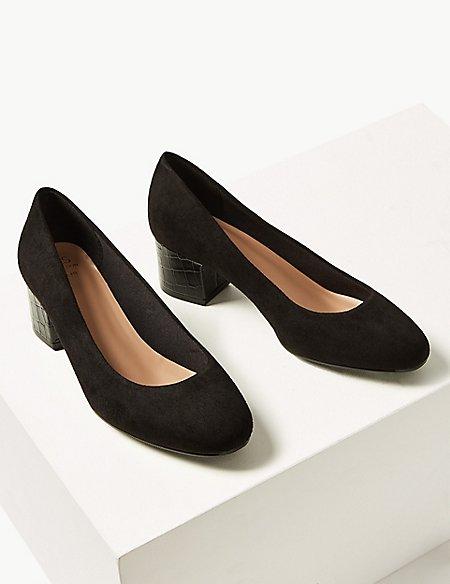 Wide Fit Block Heels Court Shoes