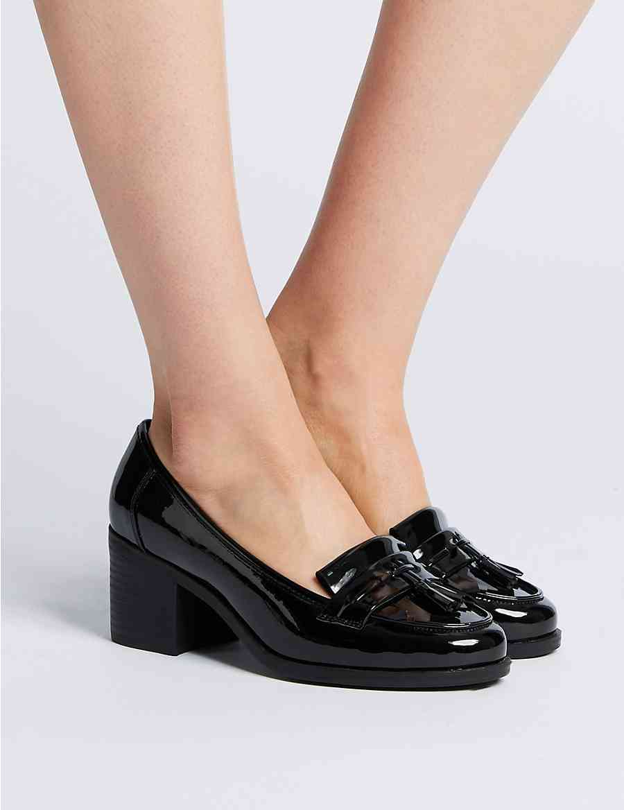 a8d8638346c Wide Fit Block Heel Fringe Loafers