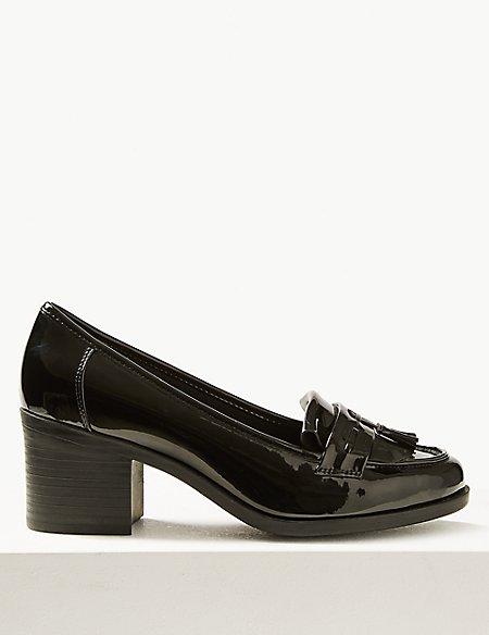 Wide Fit Block Heel Fringe Loafers