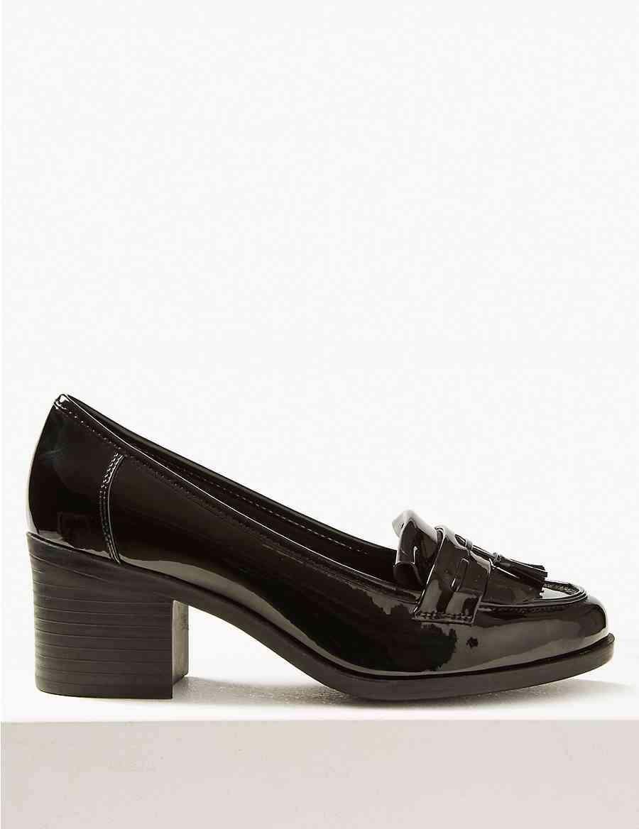 bb9cb6bf78b Wide Fit Block Heel Fringe Loafers