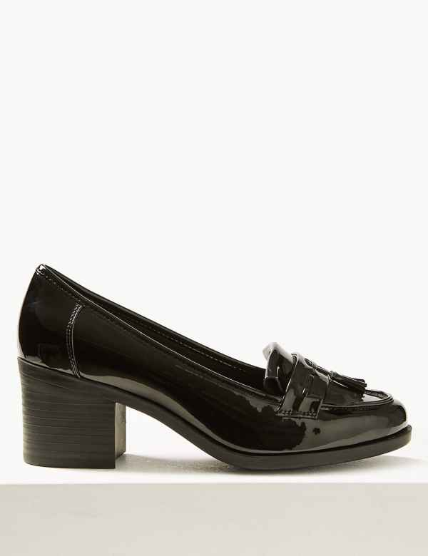 2da901f3e95 Wide Fit Block Heel Fringe Loafers