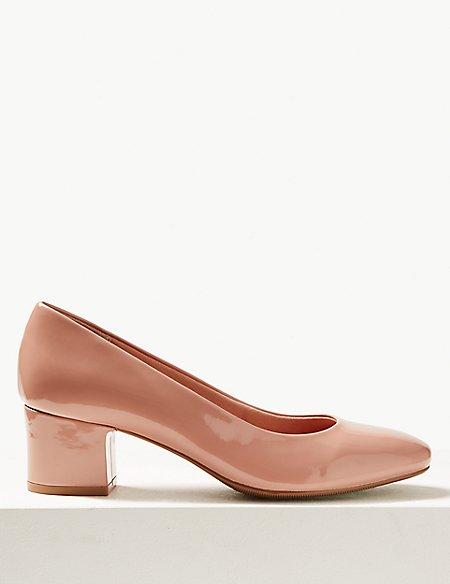 Wide Fit Block Heel Court Shoes