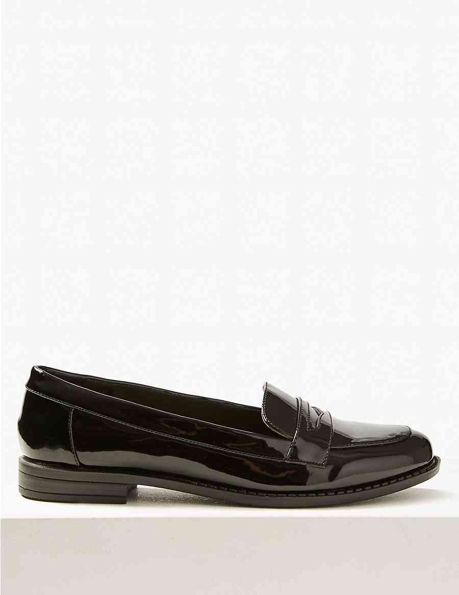 c17db034907 Extra Wide Fit Block Heel Penny Loafers