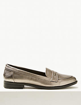 Extra Wide Fit Block Heel Penny Loafers