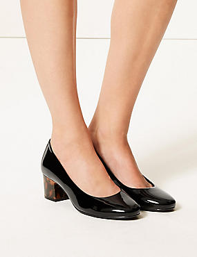 Wide Fit Block Heel Court Shoes , BLACK PATENT, catlanding