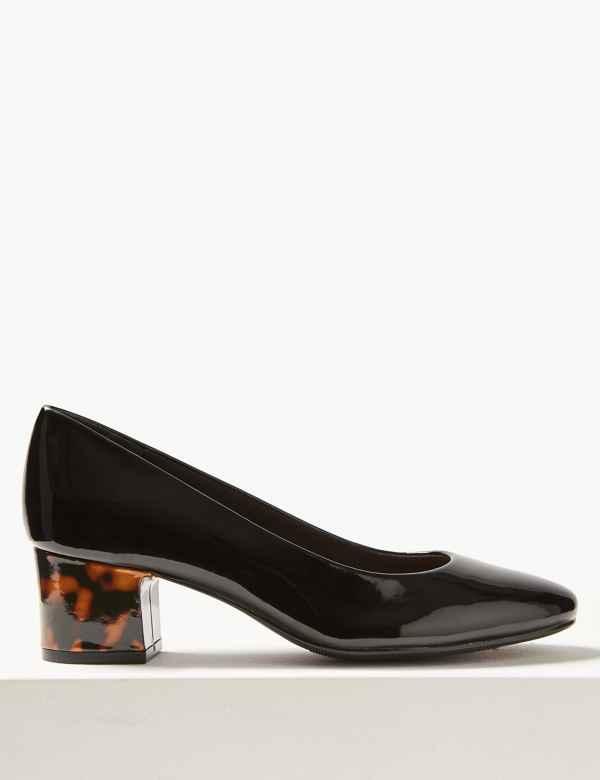 3a0da386c Wide Fit Block Heel Court Shoes