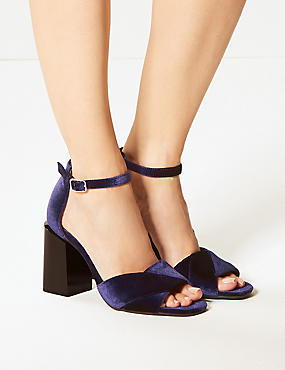 Wide Fit Block Heel Sandals, PURPLE, catlanding