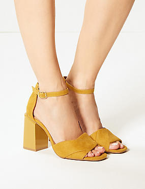 Wide Fit Block Heel Sandals, OCHRE, catlanding
