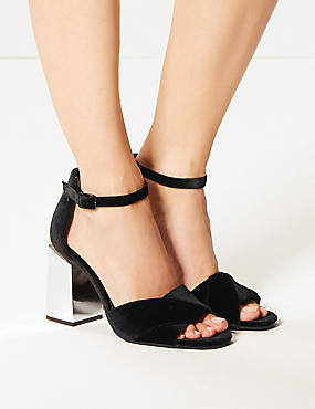 Wide Fit Block Heel Sandals, BLACK, catlanding