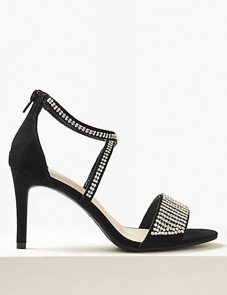 Extra Wide Fit Stiletto Heel Diamanté Sandals