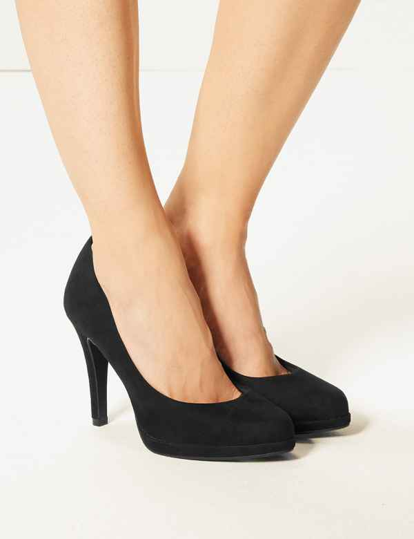 High Stiletto Heel Check Pattern Pumps Pull On Pointed Toe Ladies Court Shoes