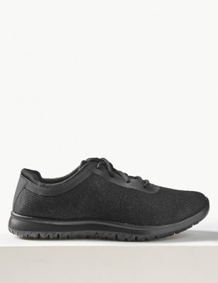 Shimmer Wide Fit Lace Up Trainers by Marks & Spencer