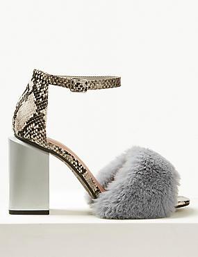 Wide Fit Block Heel Faux Fur Sandals