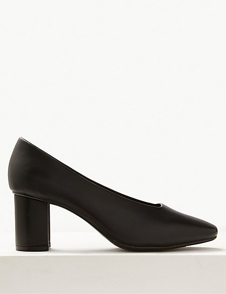Wide Fit High Front Square Toes Court Shoes