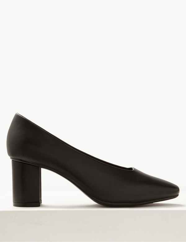 64e17105bb Wide Fit High Front Square Toe Court Shoes