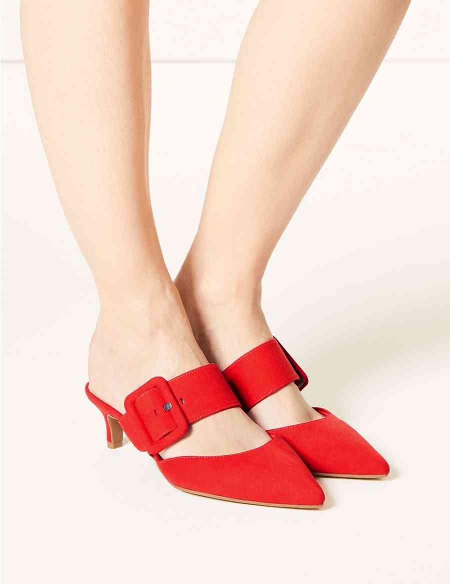 b147e981d2c Extra Wide Fit Kitten Heel Mule Shoes