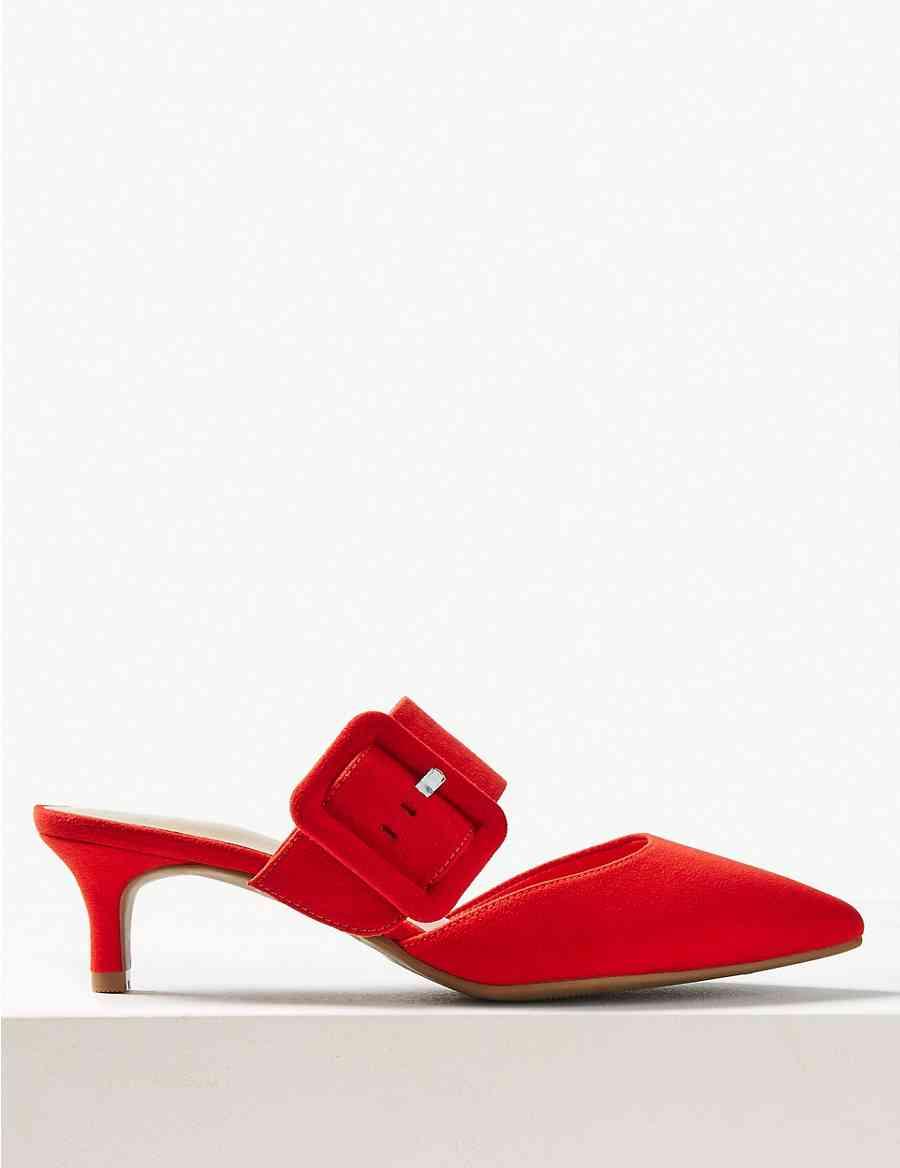 641c532399d Extra Wide Fit Kitten Heel Mule Shoes
